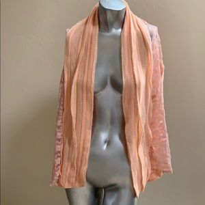 Peach Lace & Knit Scarf/Shawl...long and wide 🍑